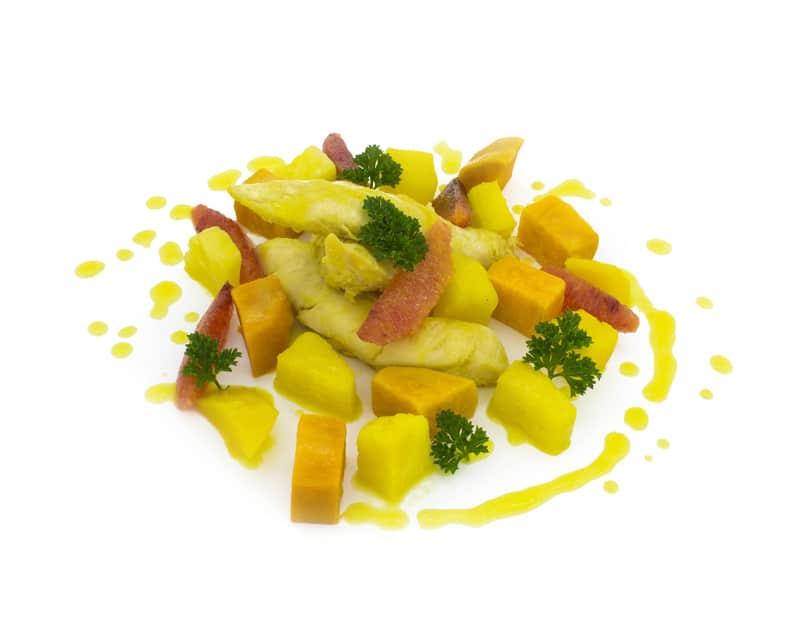 Pui cu ananas, mango și cartofi dulci