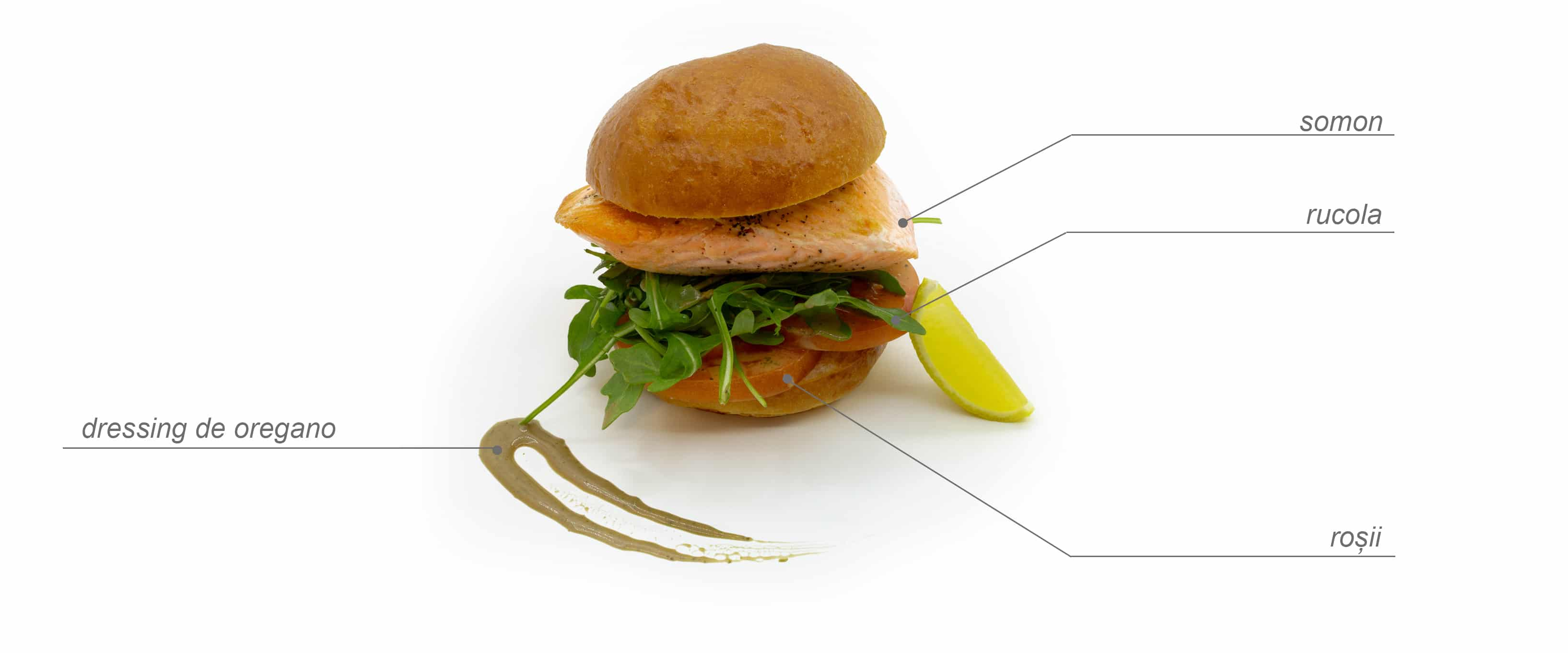 Sandwich de somon cu rucola