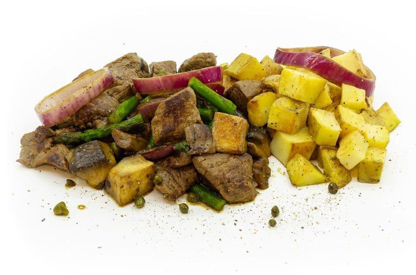 Steak tips cu cartofi gratinați
