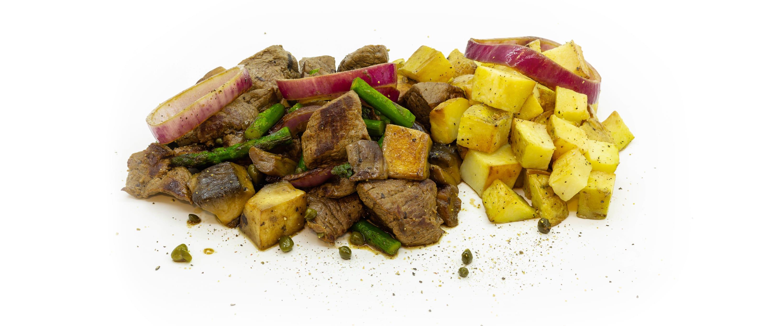steak tips la tigaie cu cartofi gratinati